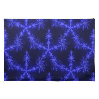 BLUE ICE CRYSTAL SNOWFLAKE WINTER HOARFROST DIGITA CLOTH PLACEMAT