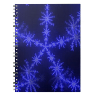 BLUE ICE CRYSTAL SNOWFLAKE WINTER HOARFROST DIGITA SPIRAL NOTE BOOK