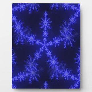 BLUE ICE CRYSTAL SNOWFLAKE WINTER HOARFROST DIGITA DISPLAY PLAQUE