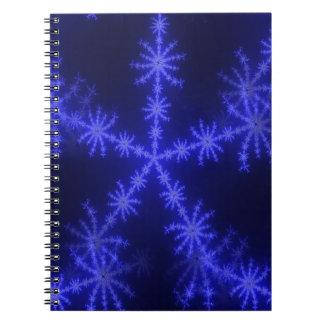 BLUE ICE CRYSTAL SNOWFLAKE WINTER HOARFROST DIGITA SPIRAL NOTEBOOK