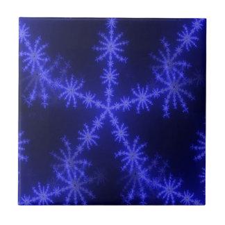 BLUE ICE CRYSTAL SNOWFLAKE WINTER HOARFROST DIGITA TILES
