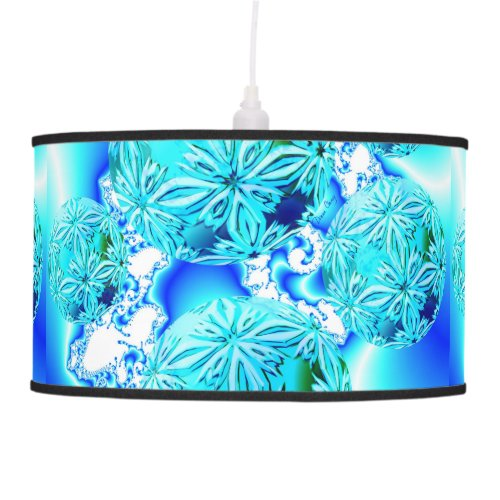 Blue Ice Crystals Abstract Aqua Azure Cyan Fractal Hanging Lamp
