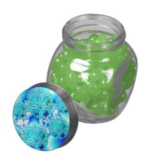 Blue Ice Crystals Abstract Aqua Azure Cyan Pattern Glass Jars
