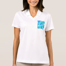 Blue Ice Crystals Abstract Aqua Azure Cyan Pattern Polo Shirt