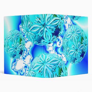 Blue Ice Crystals, Abstract Aqua Azure Cyan Spiral Vinyl Binders