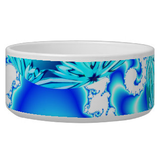 Blue Ice Crystals, Abstract Aqua Azure Cyan Spiral Bowl
