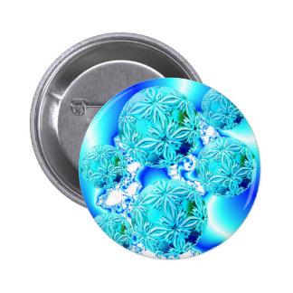Blue Ice Crystals, Abstract Aqua Azure Cyan Spiral Pinback Button