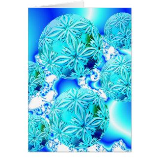 Blue Ice Crystals, Abstract Aqua Azure Cyan Spiral Card