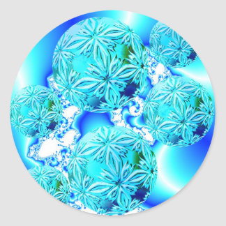 Blue Ice Crystals, Abstract Aqua Azure Cyan Spiral Classic Round Sticker