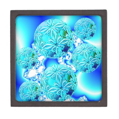 Blue Ice Crystals, Abstract Aqua Azure Cyan Spiral Gift Box