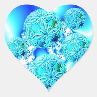 Blue Ice Crystals, Abstract Aqua Azure Cyan Spiral Heart Sticker