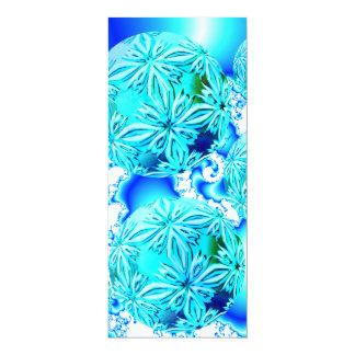 "Blue Ice Crystals, Abstract Aqua Azure Cyan Spiral 4"" X 9.25"" Invitation Card"