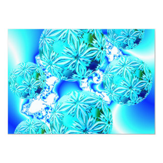 Blue Ice Crystals, Abstract Aqua Azure Cyan Spiral Custom Invitations