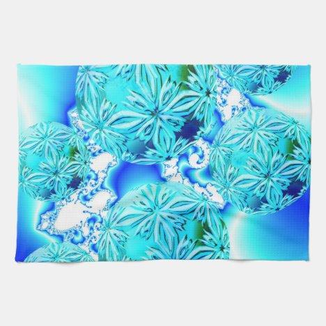 Blue Ice Crystals, Abstract Aqua Azure Cyan Spiral Kitchen Towel