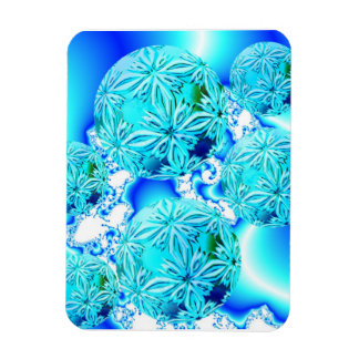 Blue Ice Crystals, Abstract Aqua Azure Cyan Spiral Magnet