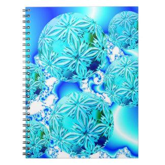 Blue Ice Crystals, Abstract Aqua Azure Cyan Spiral Spiral Note Book