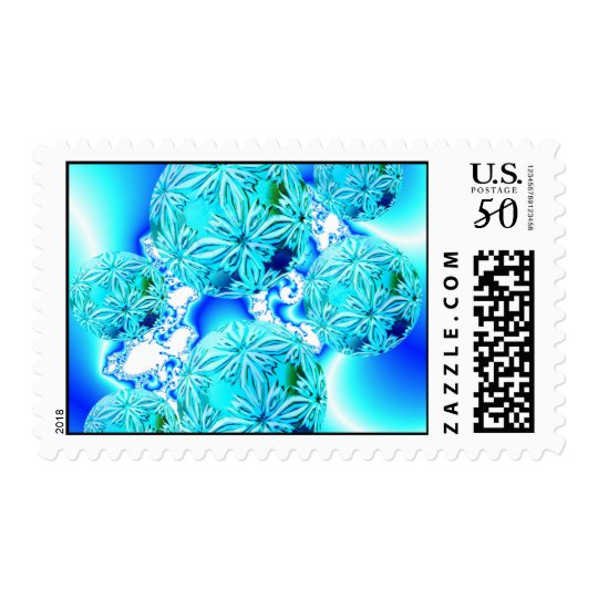 Blue Ice Crystals, Abstract Aqua Azure Cyan Spiral Postage