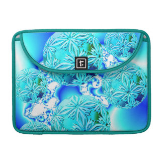 Blue Ice Crystals, Abstract Aqua Azure Cyan Spiral Sleeve For MacBook Pro