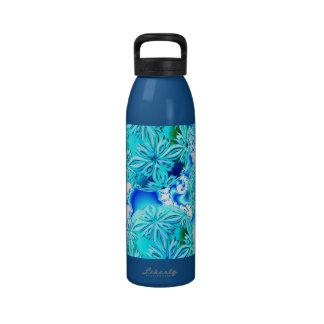 Blue Ice Crystals, Abstract Aqua Azure Cyan Spiral Reusable Water Bottle