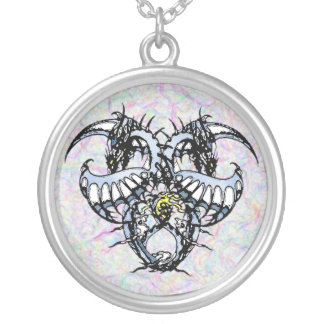 Blue Ice Dragonheart Silver Plated Necklace