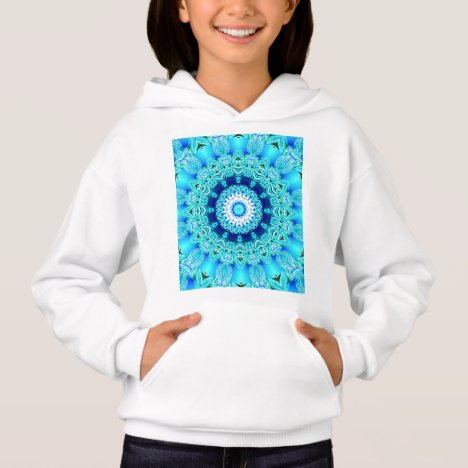 Blue Ice Glass, Abstract Beauty Aqua Lace Hoodie
