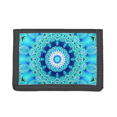 Blue Ice Glass, Abstract Beauty Aqua Lace Tri-fold Wallet