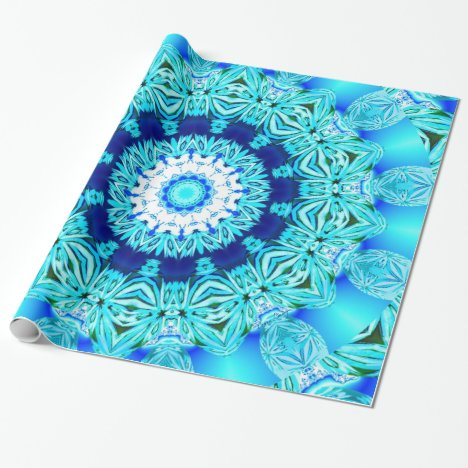 Blue Ice Glass, Abstract Beauty Aqua Lace Wrapping Paper