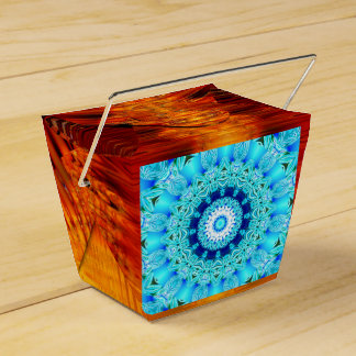 Blue Ice Glass, Delicate Abstract Cyan Aqua Silver Favor Box