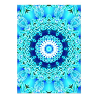 Blue Ice Glass, Delicate Abstract Cyan Aqua Silver Custom Invites
