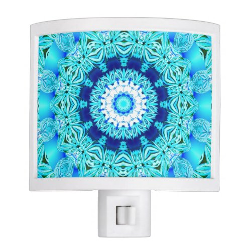 Blue Ice Glass, Delicate Abstract Cyan Aqua Silver Night Light