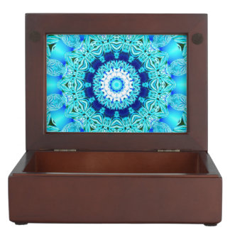Blue Ice Glass, Delicate Abstract Cyan Aqua Silver Keepsake Box