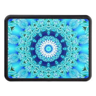 Blue Ice Glass, Delicate Abstract Cyan Aqua Silver Tow Hitch Covers