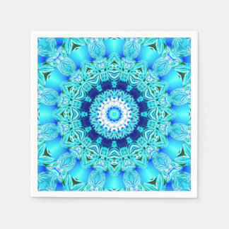 Blue Ice Glass, Delicate Abstract Cyan Aqua Silver Disposable Napkin