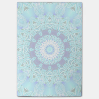 Blue Ice Glass, Delicate Abstract Cyan Aqua Silver Post-it® Notes