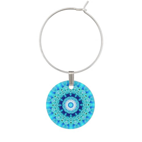 Blue Ice Glass, Delicate Abstract Cyan Aqua Silver Wine Glass Charm