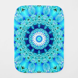 Blue Ice Glass, Delicate Abstract Cyan Aqua Silver Burp Cloth