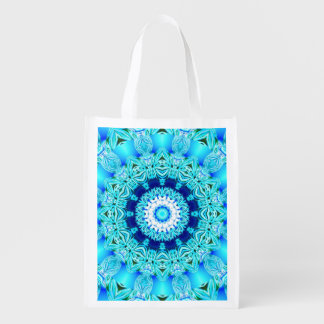 Blue Ice Glass, Delicate Abstract Cyan Aqua Silver Reusable Grocery Bags