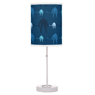 Blue Ice Hockey Player Pattern Desk Lamp