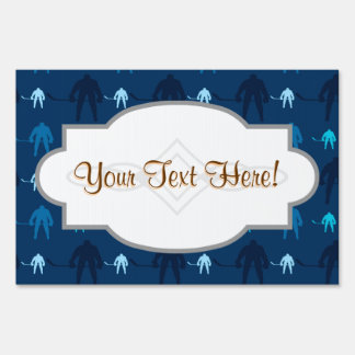 Blue Ice Hockey Player Pattern Lawn Sign