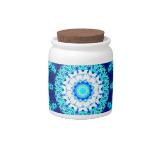 Blue Ice Lace Doily, Abstract Aqua Candy Jar