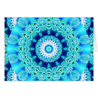 Blue Ice Lace Doily, Abstract Aqua Card