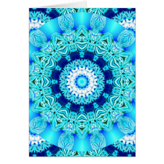 Blue Ice Lace Doily, Abstract Aqua Greeting Cards