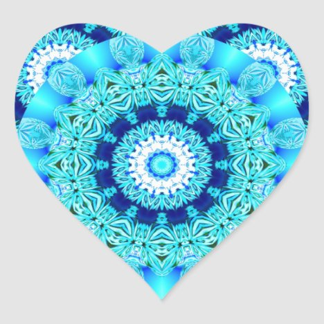 Blue Ice Lace Doily, Abstract Aqua Heart Sticker