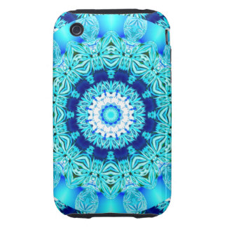 Blue Ice Lace Doily, Abstract Aqua iPhone 3 Tough Case