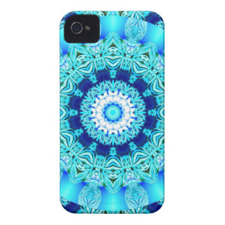 Blue Ice Lace Doily, Abstract Aqua iPhone 4 Cover