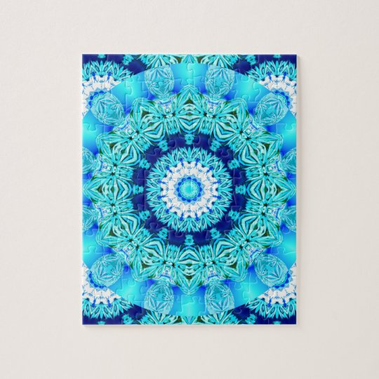 Blue Ice Lace Doily, Abstract Aqua Jigsaw Puzzle