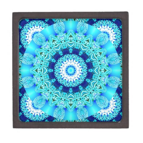 Blue Ice Lace Doily, Abstract Aqua Keepsake Box