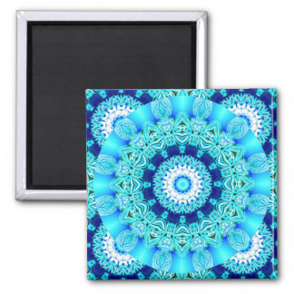 Blue Ice Lace Doily, Abstract Aqua Magnet