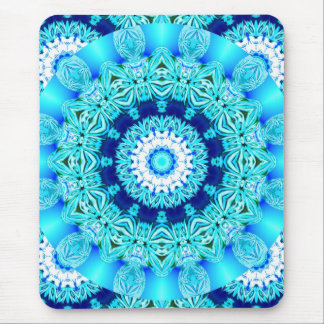 Blue Ice Lace Doily, Abstract Aqua Mouse Pad