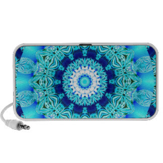 Blue Ice Lace Doily, Abstract Aqua Mp3 Speaker